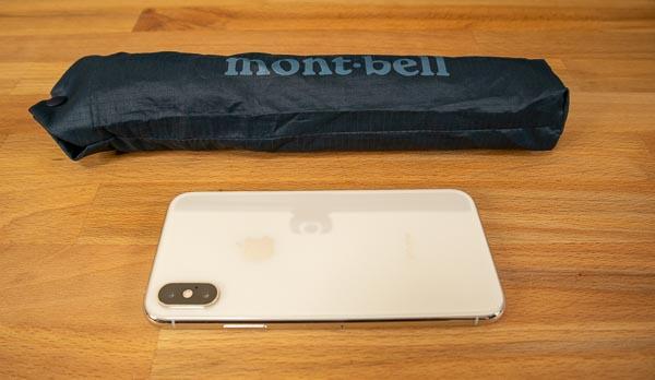 モンベル トレッキングアンブレラとiPhoneXsの比較